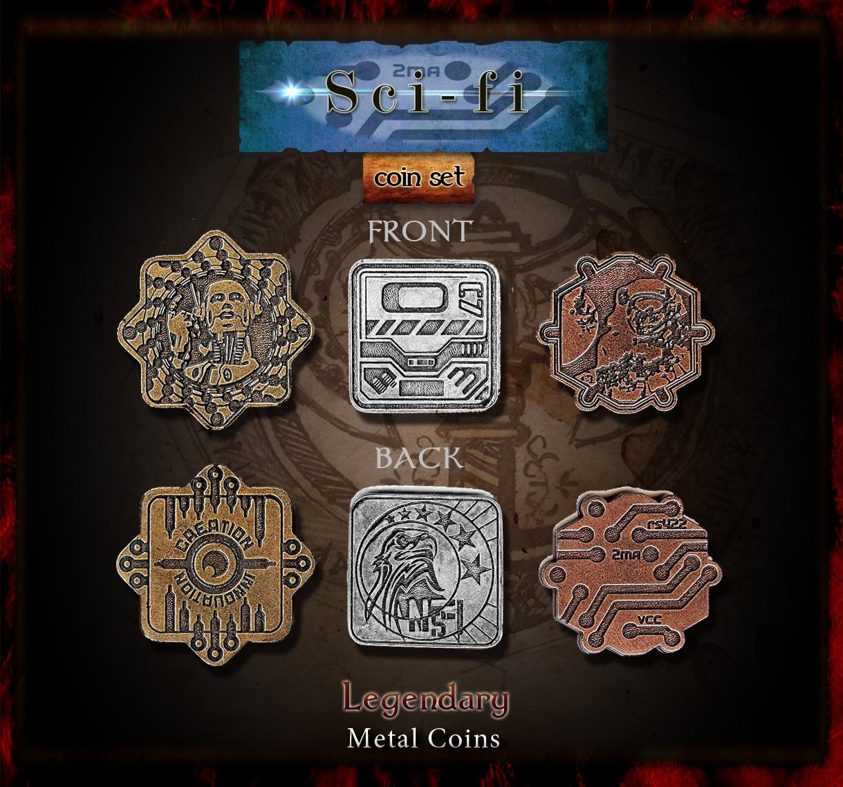 Sci Fi Set Legendary Metal Coins Drawlab Entertainment